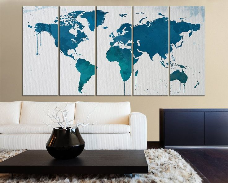 Large Wall Art Blue and Turquoise WORLD MAP on Watercolor Paper Texture Canvas Art Print - X Large World Map Canvas Art
