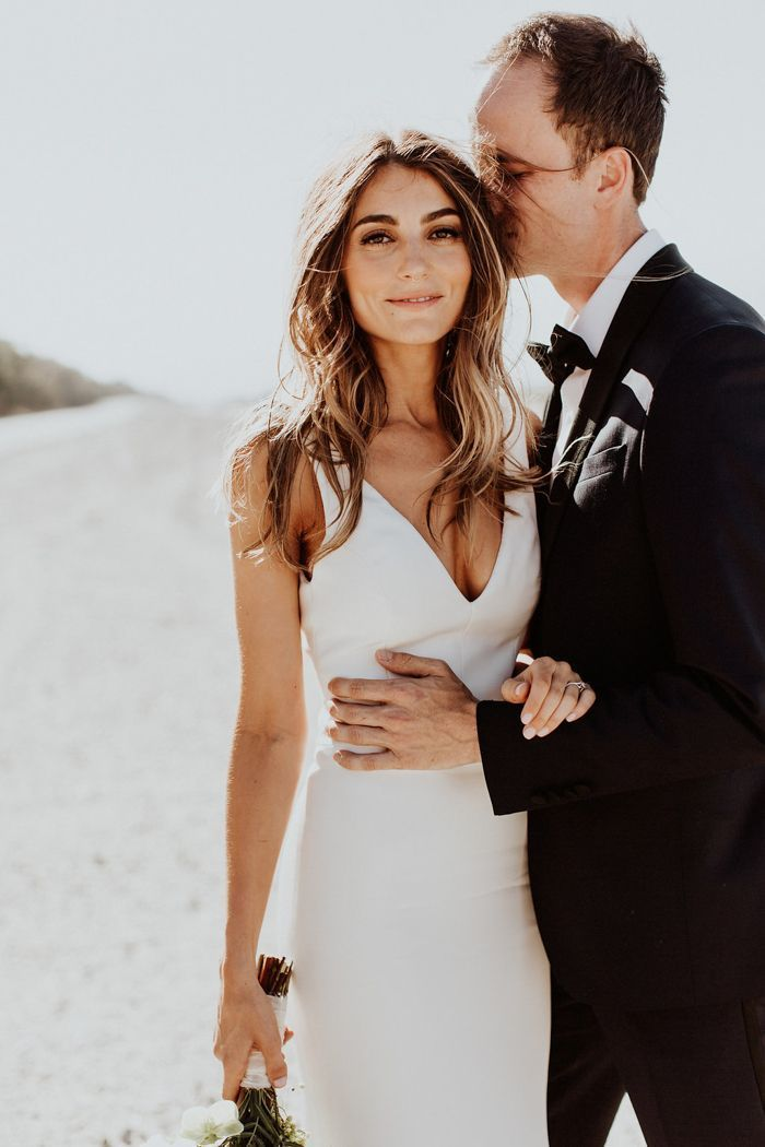 You will love the bohemian vibes in this Palm Springs wedding image
