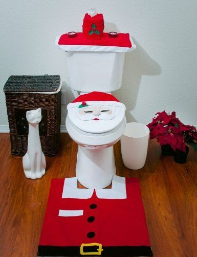 OliaDesign Christmas Decorations Happy Santa Toilet Seat Cover And Rug Set Bathroom Brings The Happiness Joy Of To Your
