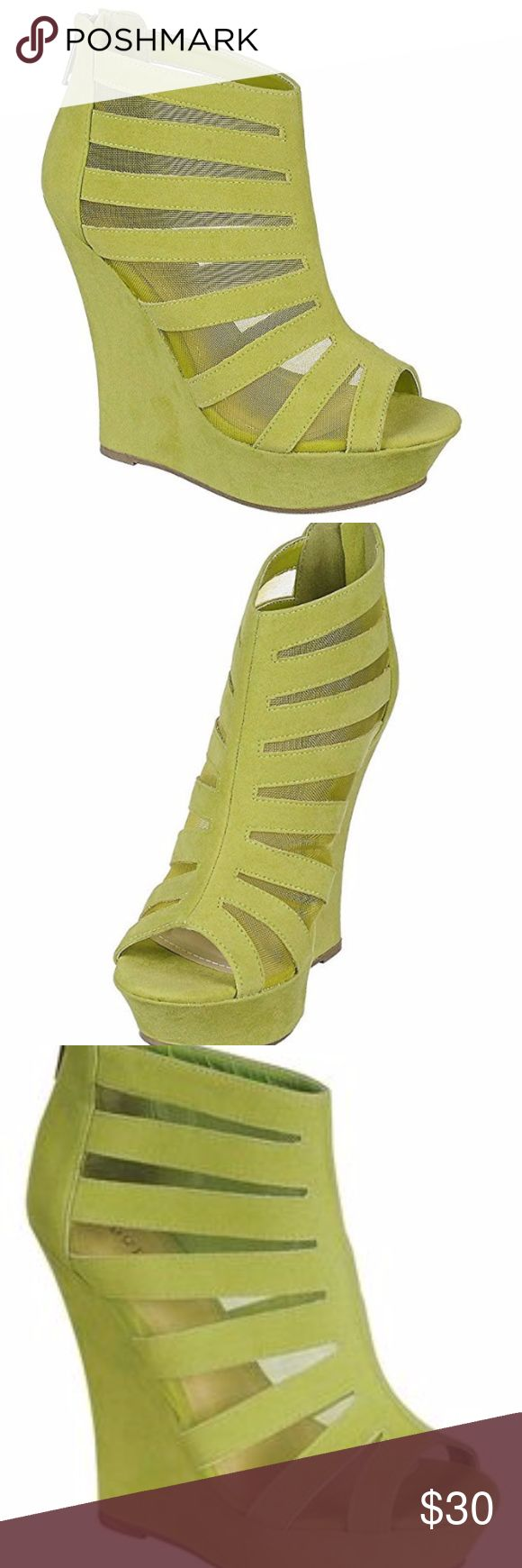 """BAMBOO Lime wedges! Sz 7 This beautiful Bamboo pink wedge features a leatherette upper, perforated design, lace up front, side cut out, stitching detail, peep toe platform wedge, lightly padded insole, and a rear zipper closer for easy on/off. Heel height: 5.25"""""""" Platform: 1.5"""""""" (approx.) Sole: Rubber Material: Leatherette (man-made)  BRAND NEW never worn! BAMBOO Shoes Wedges"""