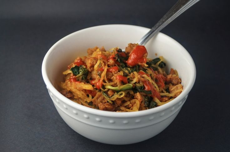 Spicy Asian Spaghetti Squash I constantly make this for quick meals and lately have switched from chicken sausage to leaner vegetarian crumbles and have started adding some veggies. It's hearty, vegetarian, low-carb, and delish. Even my meat loving, veggie averse friends will dig in.