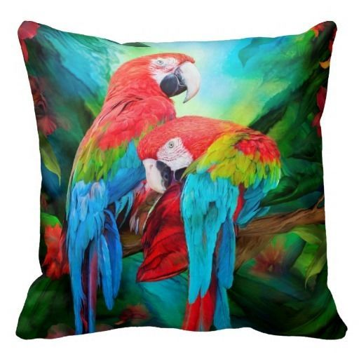 Throw Away Pillow Cases : Tropic Spirits Macaws Art DesignerThrow Pillow Case Cushion Cover Home Decor Cushions, Home ...