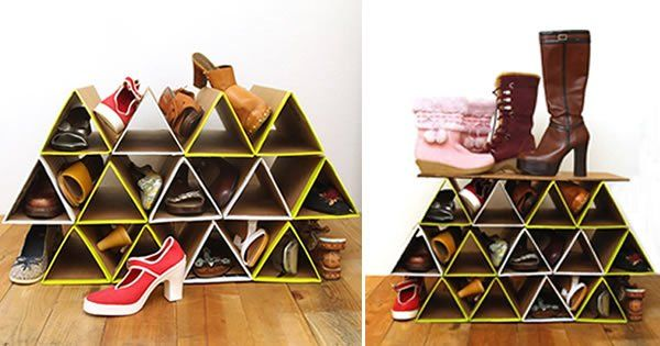 Aprenda a fazer uma incrível sapateira de papelão em módulos triangulares para organizar seus sapatos em grande estilo!