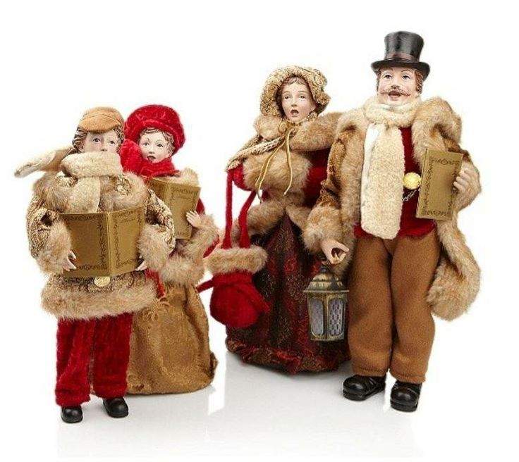 Vintage Wooden Christmas Carolers Set Of 3 Victorian: Christmas Carolers Figurines Large