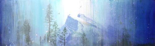 """Steven Nederveen MOUNTAIN OF BLUE / Canada House Gallery - mixed media, resin, panel 18"""" x 60"""""""