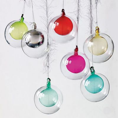 Double Glass Ornaments by westelm: A mid century Christmas look. Too bad I found them too late. :/ #Christmas #Glass_Ornaments
