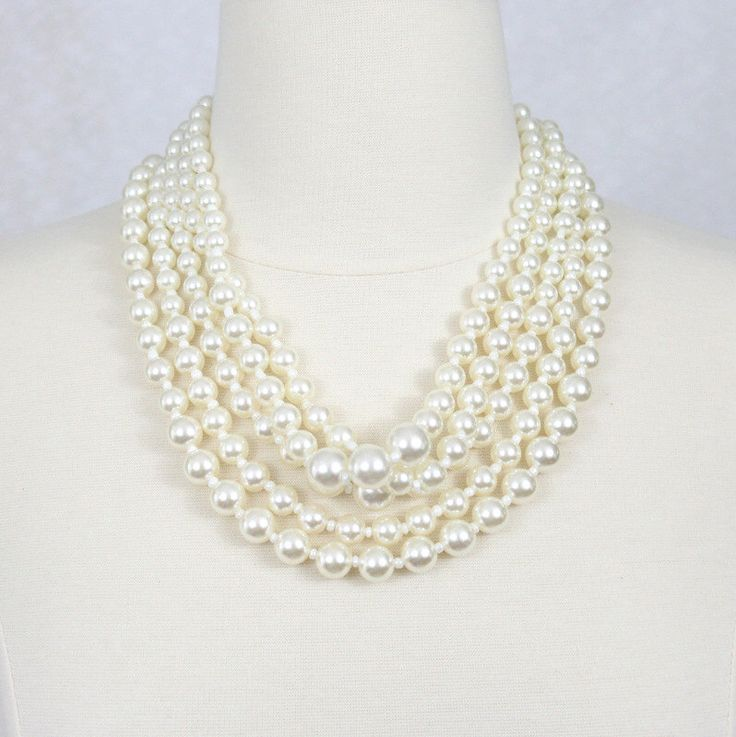 Multi Strand Pearl Necklace Chunky Pearl Statement Necklace Layered Pearl Necklace Ivory White Necklace by HelensCollection on Etsy https://www.etsy.com/listing/228884894/multi-strand-pearl-necklace-chunky-pearl