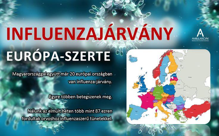 Már húsz európai országban van kiterjedt influenzajárvány: Belgium, Horvátország, Csehország, Észtország, Finnország, Franciaország, Németország, Írország, Olaszország, Lettország, Litvánia, Luxemburg, Hollandia, Norvégia, Portugália, Szlovénia, Spanyolország, Svédország, Anglia, valamint Magyarország számolt be kiterjedt influenzajárványról - közölte az ÁNTSZ. A betegek száma a legtöbb helyen növekvő.