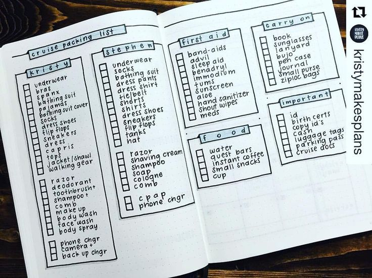 Packing list in your bullet journal show me your planner