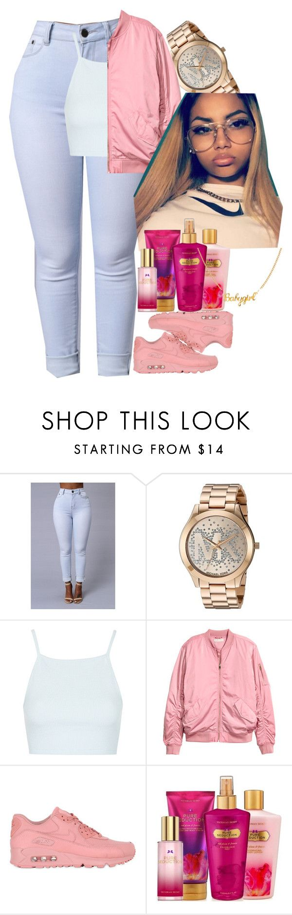 """""""Pink"""" by shecutetho ❤ liked on Polyvore featuring Michael Kors, Topshop, H&M, NIKE and Victoria's Secret"""