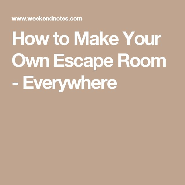 how to create your own escape room at work