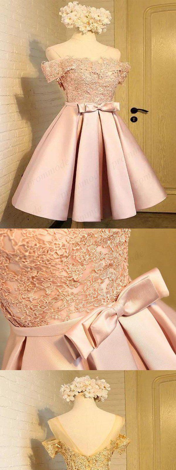 Off-The-Shoulder rosa Spitze Homecoming Kleider, kurze Heimkehr Dresse … #dres…