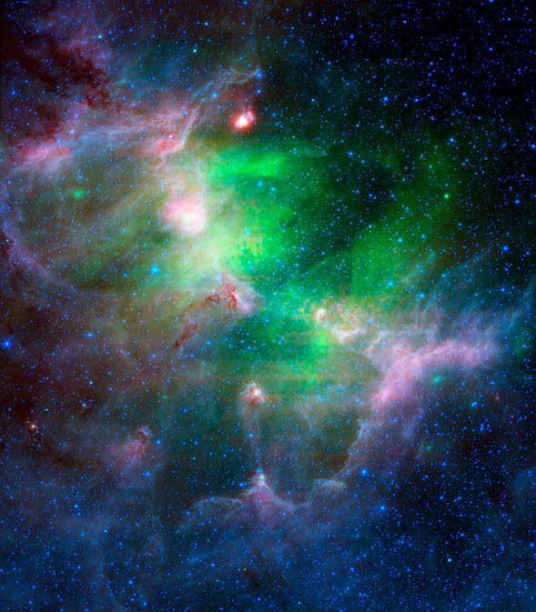 This infrared view of the Eagle Nebula contrasts the hot dust of a supernova with cooler regions of star formation.