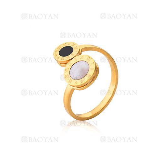 anillo de numero romano con piedra de dorado en acero para mujer-SSRGG802016