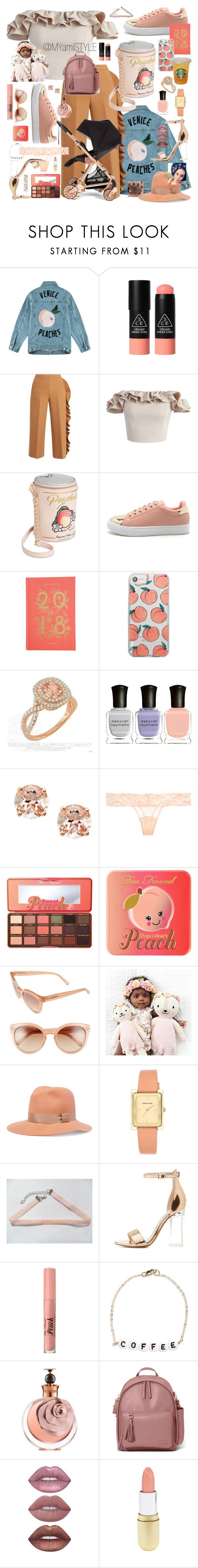 """""""Miss Peaches 🍑"""" by myamistyle ❤ liked on Polyvore featuring Être Cécile, 3 Concept Eyes, MSGM, Chicwish, Betsey Johnson, Rifle Paper Co, Skinnydip, Deborah Lippmann, Anika and August and La Perla"""