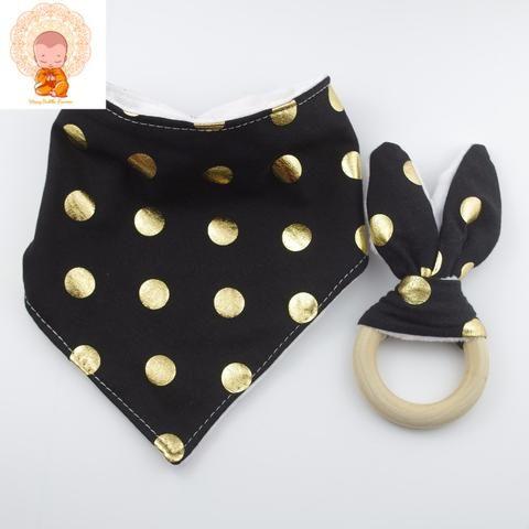 Black and Gold Polka Dot 2pc Bib Set