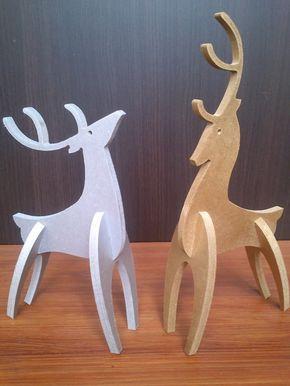navidad: renos de madera 80 cm encastrables $460