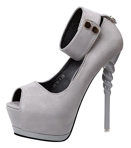 49cf70c6ecbe Passionow Women s Sexy Super High Stilettos Heel Ankle Strap Peep Toe Suede  Platform Suede Pumpss (