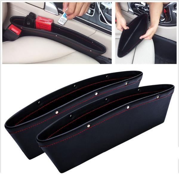 Black Leather Car Catcher Box Seat Gap Slit Storage Pocket Organizers Coin Box