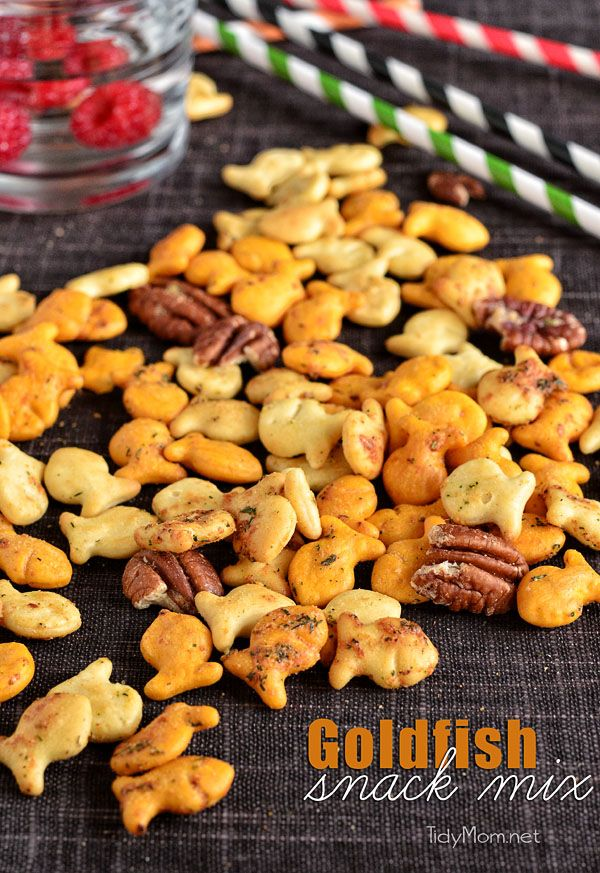 This Spicy Ranch Goldfish Snack Mix is crunchy, savory and a cinch to make. It's perfect for all of your snacking needs! From parties and football watching to movie night, or any night. Print this easy recipe at TidyMom.net