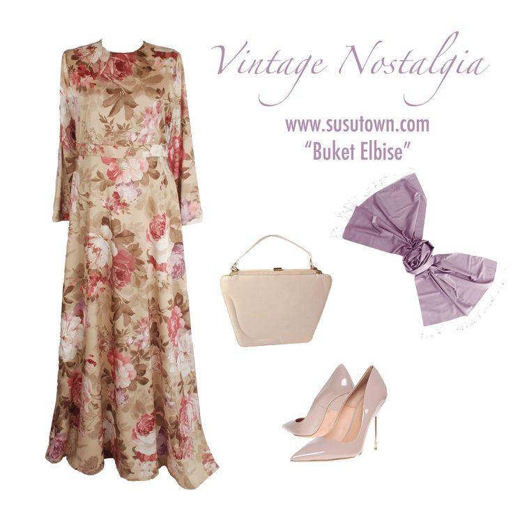 Vintage Nostalgia Şüşütown Buket Elbise - Dress hijab style www.susutown.com