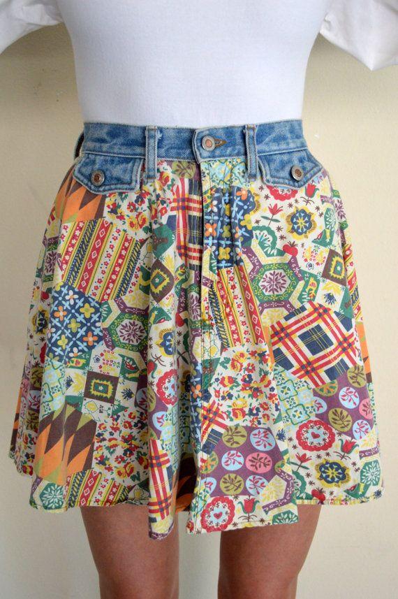 90's Vintage Short Denim and Cotton Skirt by por YellowWoodVintage