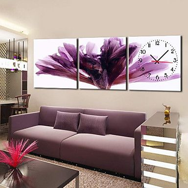 Modern Floral Purple Wall Clock in Canvas 3pcs 434511 2016 – $109.80