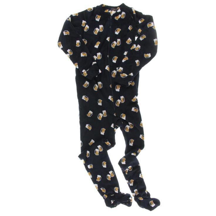 Club Room Mens Fleece Graphic Footed Pajamas