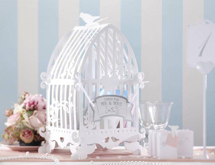 enveloppendoos voor de enveloppen in te bewaren tijdens de bruiloft. in mooie vintage vogelkooi design! trouwartikelen