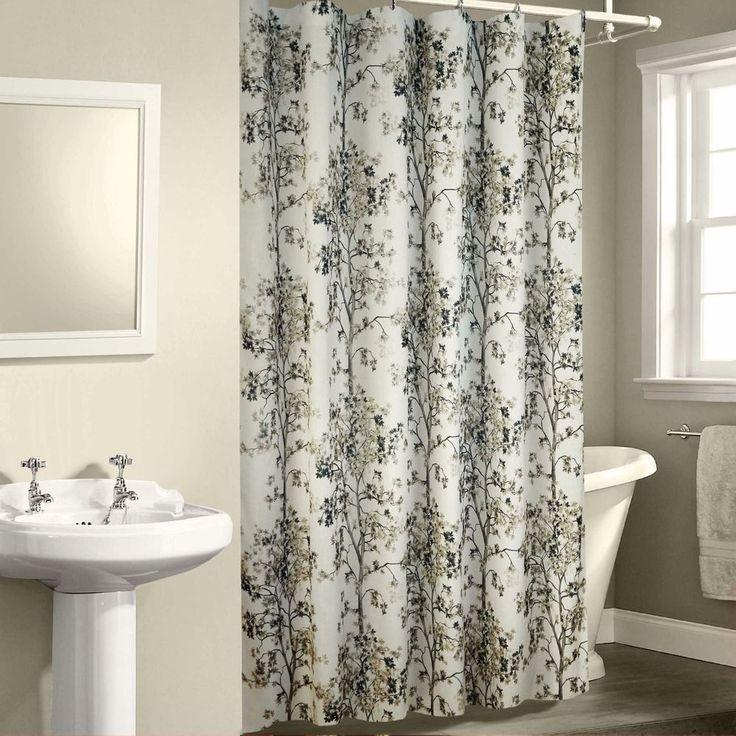 White Shower Curtain Lovely Tree Design Bathroom Decor Natural 72 X