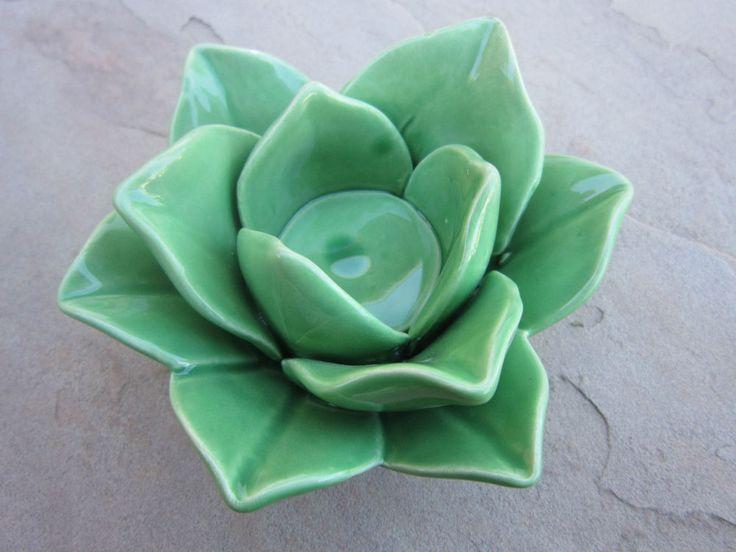 Lotus Flower Design Ceramic Tea Light Candle Holder, Green #TCW-4247