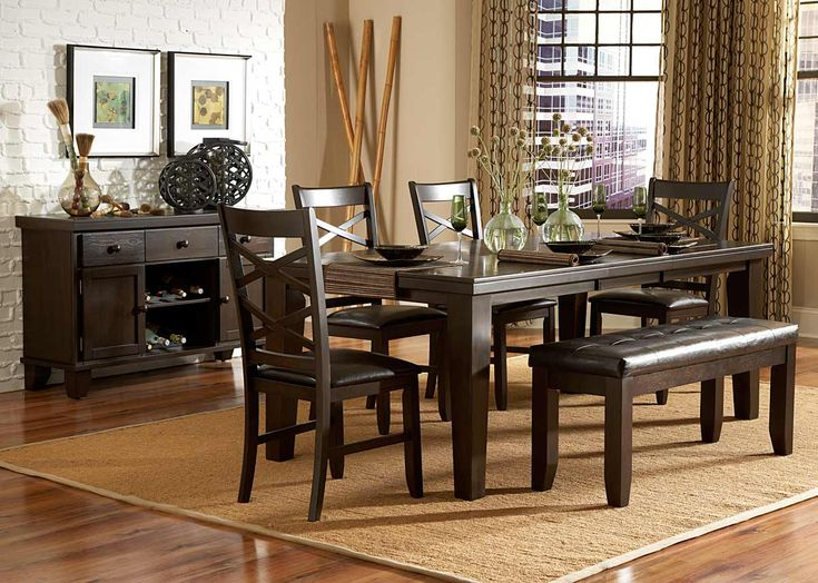This Beautifully Crafted Wood Six Piece Dining Set By Callington Features A Deep Espresso Finish That Is Sure To Complement Any Room