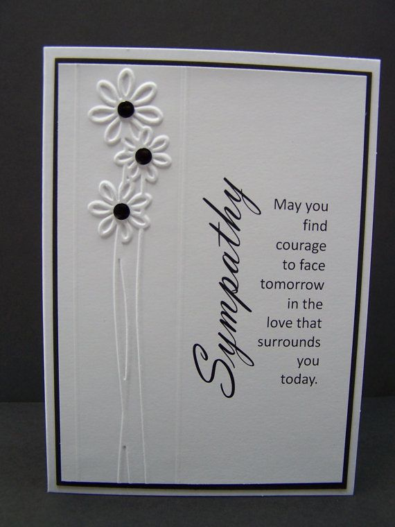Stampin Up Handmade Greeting Card: Embossed Sympathy Card, Condolence Card, With Sympathy, Black and White