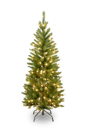 National Tree 4-1/2-Foot Prelit Artificial Kingswood Fir Pencil Tree, 150 Clear Lights #christmas #christmastree