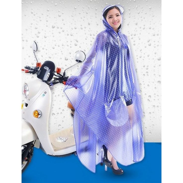 PVC - Poncho für Motorrad Mofa Motorroller Fahrrad KY0013blue Blau transparent weiße Punkte