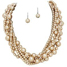 """Fun and romantic 6 strand necklace with multiple size glass pearls and matching 1"""" earrings Comes in Light Pink, Beige..."""
