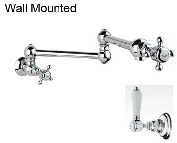 Mortimer Pot Filler with Porcelain Levers Wall Mounted