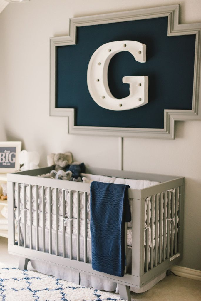 Modern, Preppy Baby Boy Nursery - love the navy and gray color scheme and marquee light! | Project Nursery