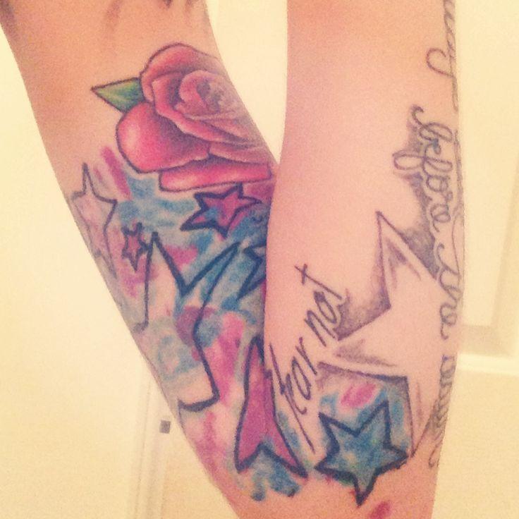 watercolor stars tie dye tattoo
