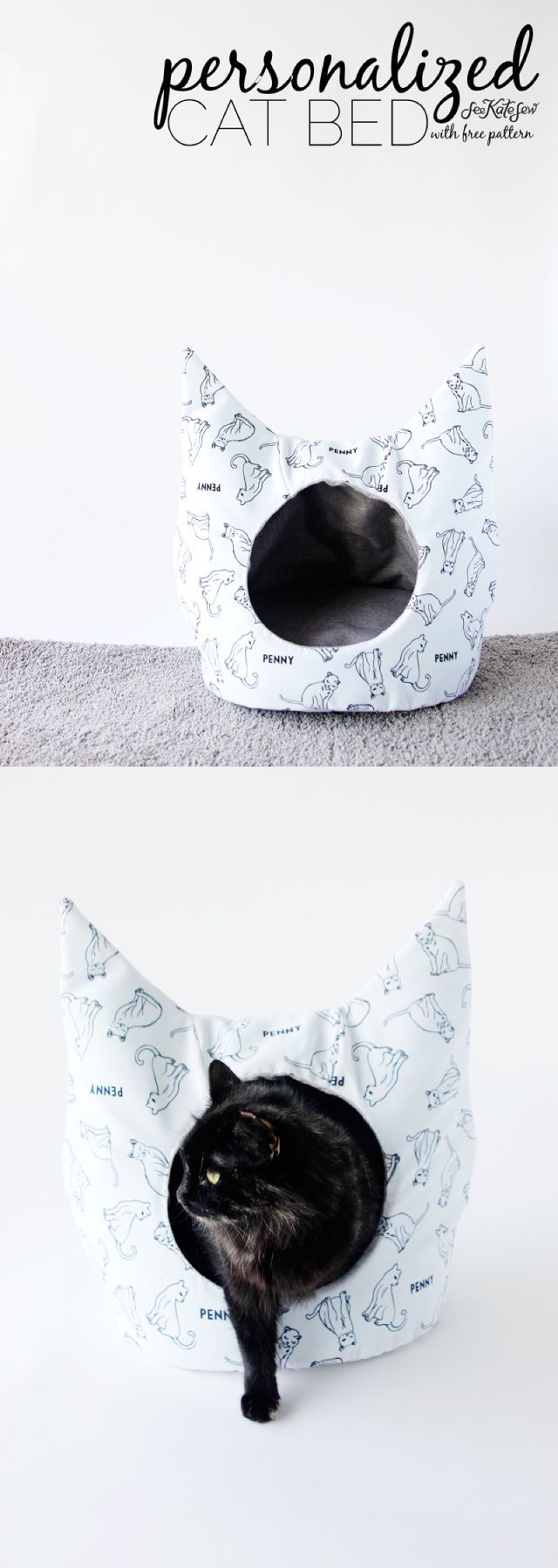 DIY Cat Bed Sewing Pattern with Personalized Fabric from @Jo-Ann Fabric and Craft Stores | See Kate Sew