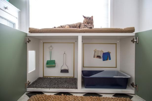 DIY Network shows you how to turn a standard laminate cabinet into a place to hide the cat's litter box.