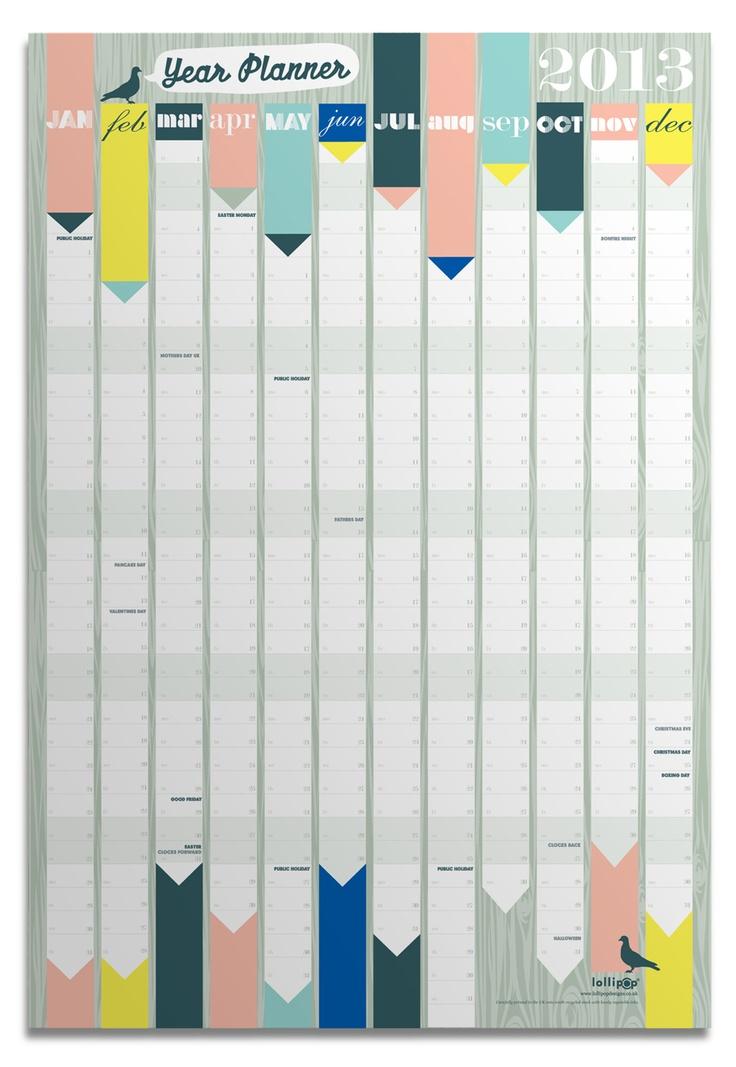 Les petits papiers de Lollipop, un calendrier pour organiser son année.   Stationery paper from Lollipop designs, a calendar to organize your family year.