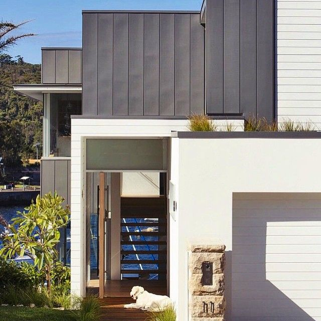 Manly project @watersheddesign. Love colour combo & texture combo - white, dark grey, cladding, sandstone & render.