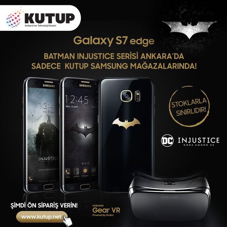 """Galaxy S7 Edge """"Batman Injustice"""" özel tasarımı ile Ankara'da sadece Kutup Samsung mağazalarında! Özel tasarım Gear VR, kulaklık ve koruyucu kılıf telefonla birlikte set halinde verilecektir. Sınırlı sayıdaki bu set için ön siparişinizi www.kutup.net adresinden verebilirsiniz. Ön sipariş için teslimatlar 15 - 20 Haziran tarihleri arasında yapılacaktır."""