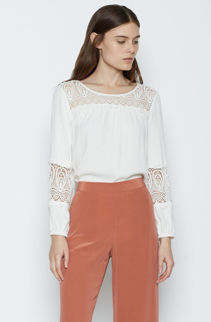 The JOIE Coastal Blouse - a simple silhouette is elevated in romantic lace details.
