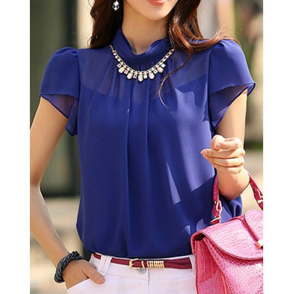 Solid Color Short Sleeve Stand-Up Collar Chiffon Blouse For Women