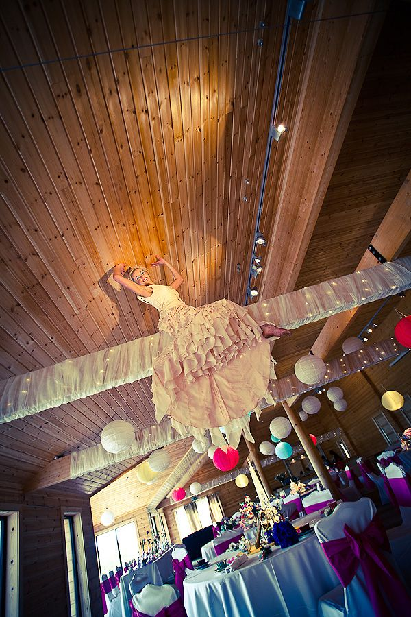 I love this photo... The bride in the roof! Pic by Jonny Draper