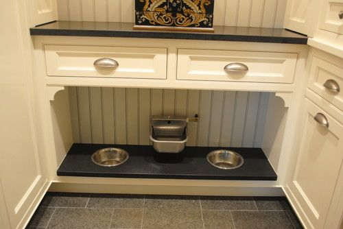 Built in dog food dishes and water!!