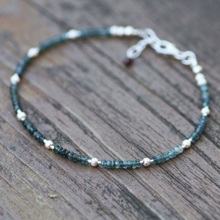 Natural Indicolite Blue Tourmaline Stardust Bead Bracelet Sterling Silver , October Birthstone, 8th anniversary , Layering, Stacking, OOAk by JuJuBeJewels on Etsy