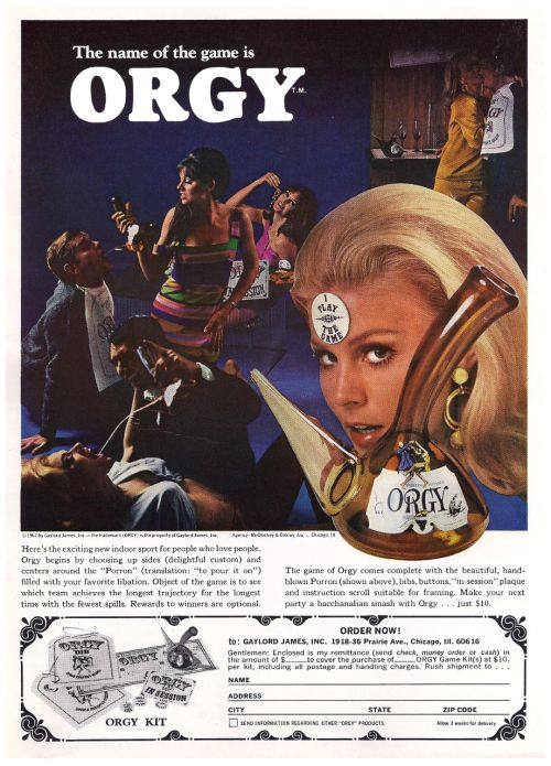 1960s Advertisement for the Party Game Orgy